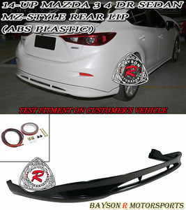 14-18 Mazda 3 4dr Sedan MZ Style Rear Lip (ABS Plastic)