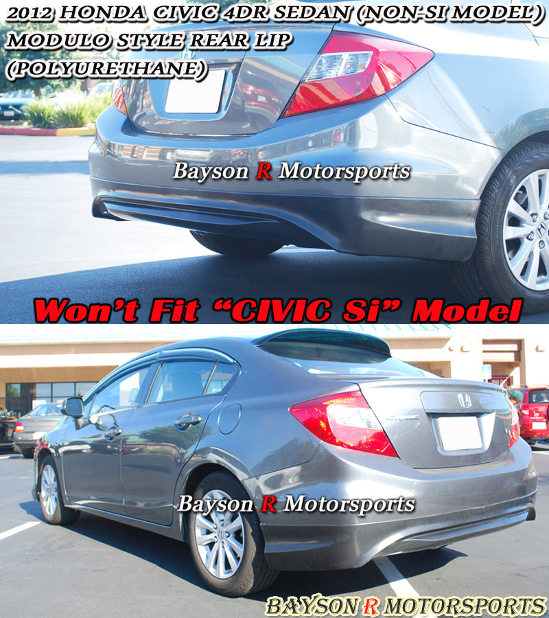 12-15 Honda Civic 4dr Sedan Modulo Style Rear Bumper Lip (Polyurethane)