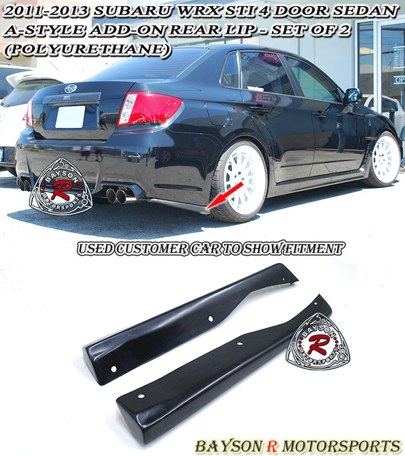 11-14 Subaru WRX STi 4dr Sedan A-Style Add-On Rear Lip (Polyurethane)