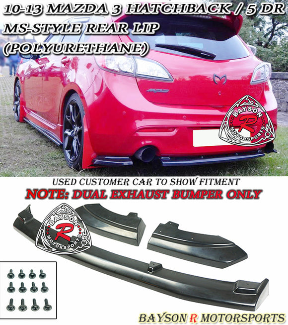 MS Style Rear Lip (Dual Exhaust) For 2010-2013 Mazda 3 / Mazdaspeed 3 5Dr - Bayson R Motorsports