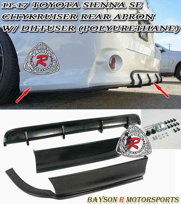 Citykruiser Rear Aprons w/ Diffuser For 2011-2020 Toyota Sienna SE - Bayson R Motorsports