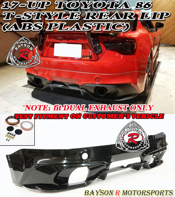 17-20 Toyota 86 T-Style Rear Lip (Dual Exhaust) - ABS Plastic - Bayson R Motorsports