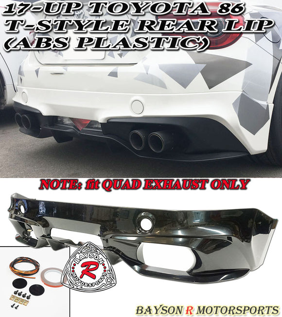 17-20 Toyota 86 T-Style Rear Lip (Quad Exhaust) - ABS Plastic - Bayson R Motorsports