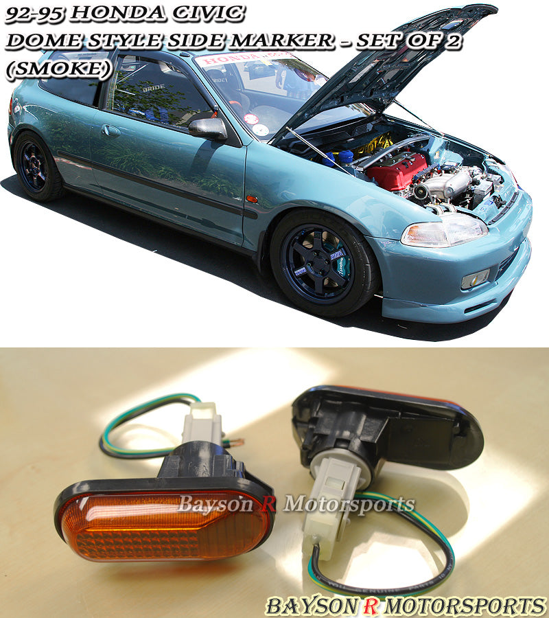 92-95 Honda Civic 2/3/4dr JDM Dome Style Side Markers (Smoked)
