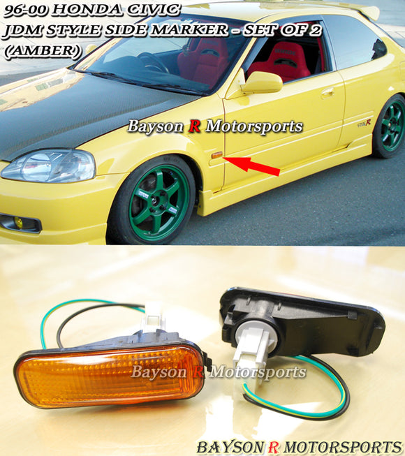 JDM Dome Style Side Markers (Amber) For 1996-2000 Honda Civic - Bayson R Motorsports
