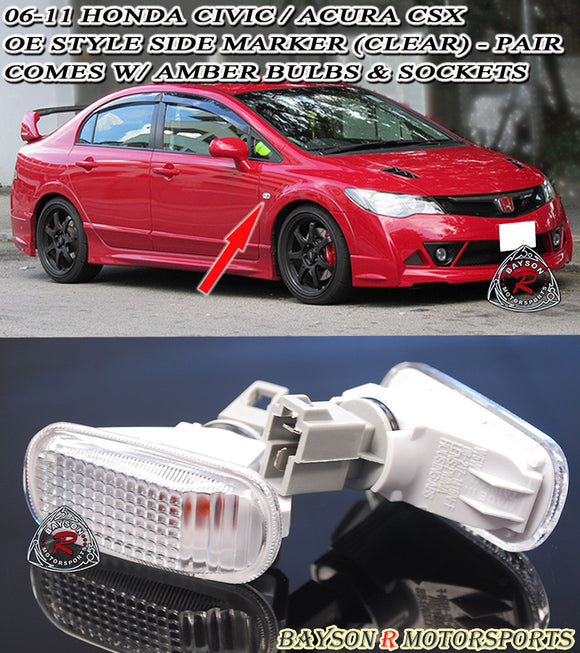 JDM Style Side Markers (Clear) For 2006-2011 Honda Civic 4Dr - Bayson R Motorsports