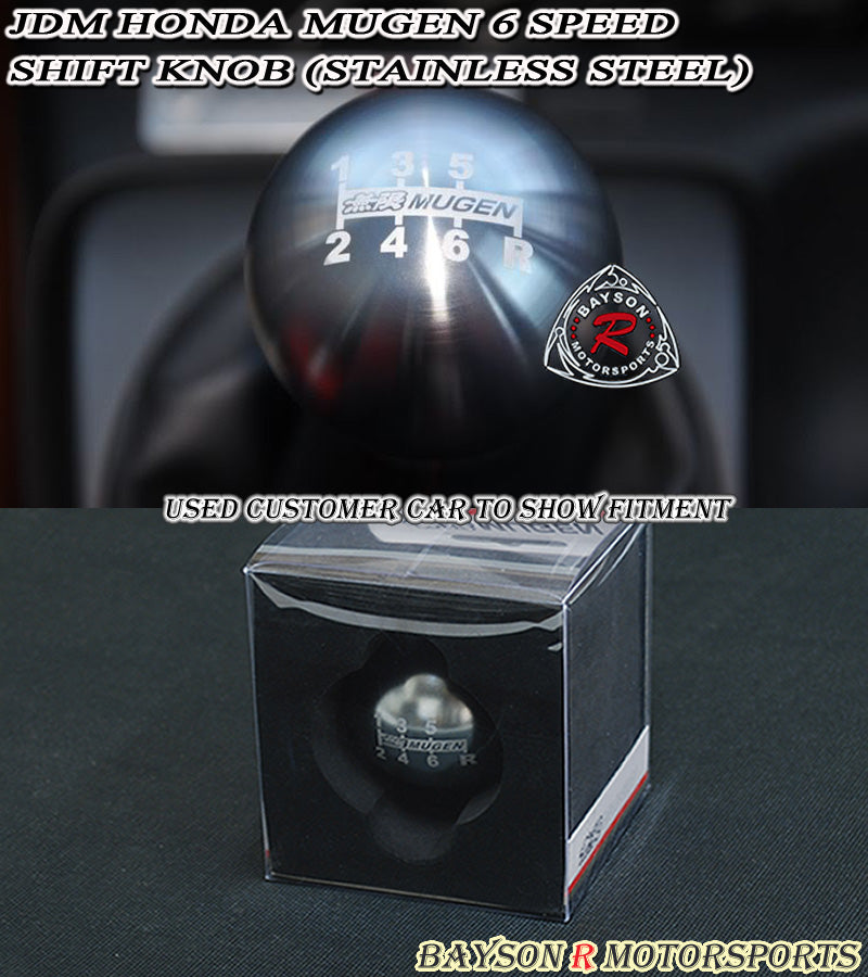 Honda Acura JDM Mu-gen Style Round Shift Knob 6-Speed Manual (Stainless Steel)