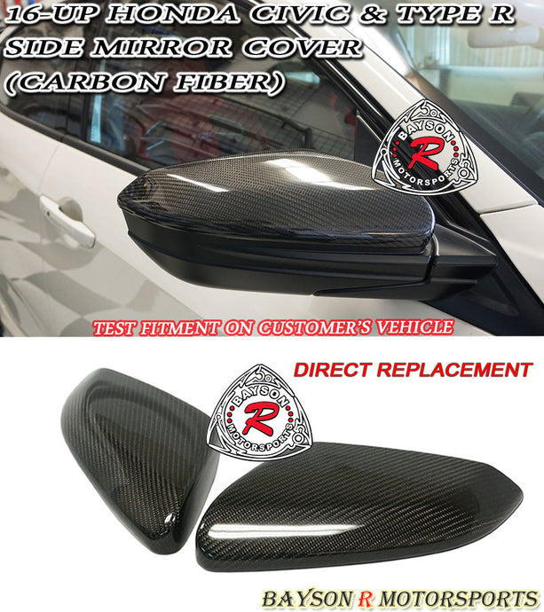 2016+ Honda Civic Side Mirror Cover (Carbon Fiber)