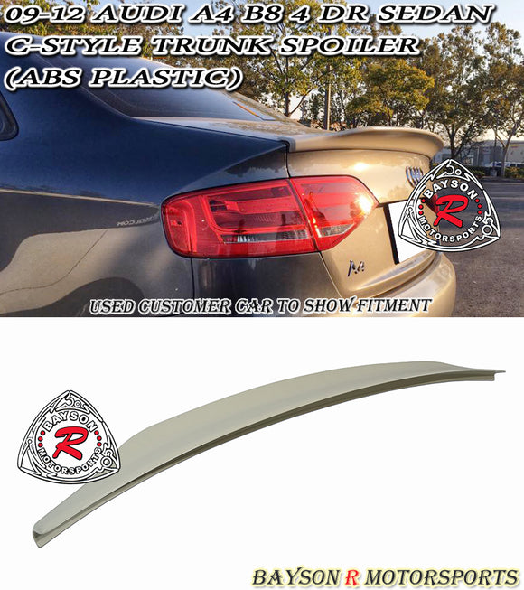 09-12 Audi A4 B8 C-Style Ducktail Trunk Spoiler (ABS Plastic) - Bayson R Motorsports