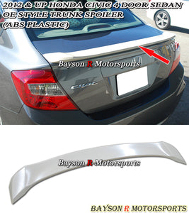 2012 Honda Civic 4dr OE Style Trunk Spoiler Wing (ABS)