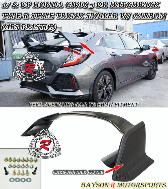 TR Style Spoiler w/ Carbon Side Panel For 2017-2020 Honda Civic 5Dr - Bayson R Motorsports