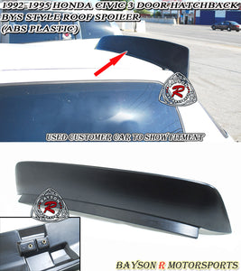 92-95 Honda Civic 3dr BYS Style Rear Roof Spoiler Wing (ABS Plastic) - Bayson R Motorsports
