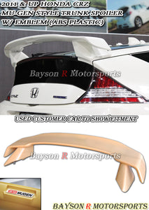 MU Style Trunk Spoiler Wing (ABS Plastic) w/ Emblem For 2011-2014 Honda CR-Z - Bayson R Motorsports