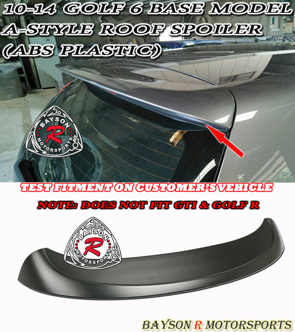 10-14 Volkswagen Golf 6 Base Model A-Style Roof Spoiler (ABS Plastic)