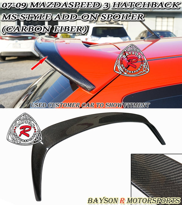 07-09 Mazdaspeed 3 5dr Hatch MS-Style Add-On Lip Spoiler (Carbon Fiber) - Bayson R Motorsports