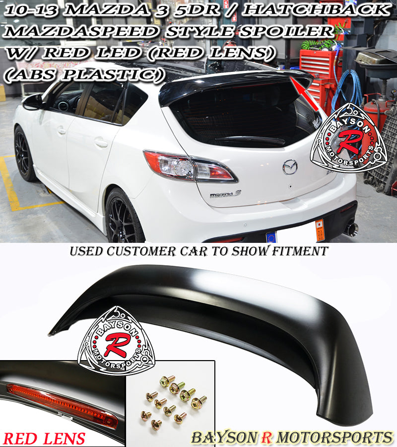 10-13 Mazda 3 5-Door Hatchback MS-Style Spoiler W/LED (RED LENS) - ABS Plastic