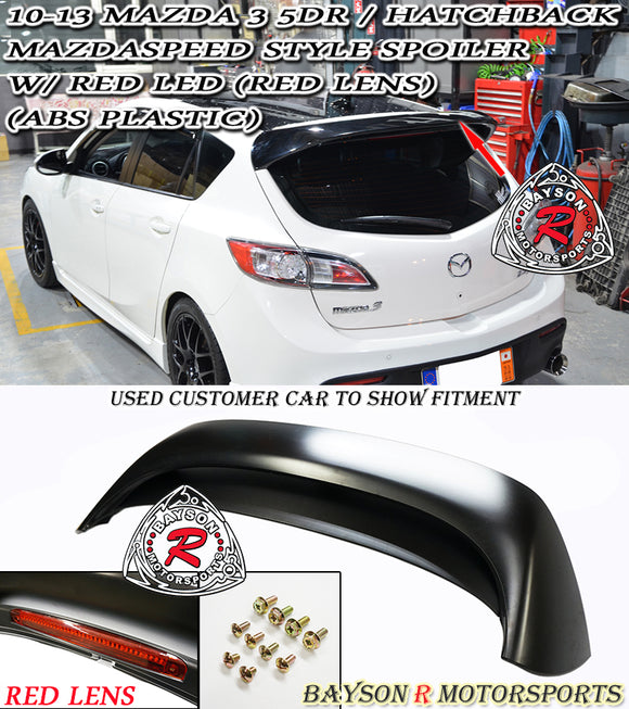 MS Style Spoiler w/ Red Lens LED 3rd Brake Light For 2010-2013 Mazda 3 5Dr - Bayson R Motorsports