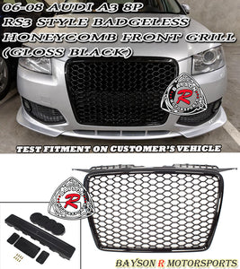06-08 Audi A3 8P RS3 Style Badgeless Honeycomb Front Grill (Gloss Black) - Bayson R Motorsports