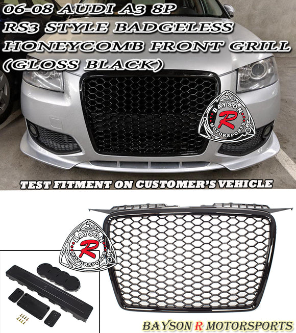 06-08 Audi A3 (8P) RS3-Style Badgeless Honeycomb Front Grille (Gloss Black) - Bayson R Motorsports