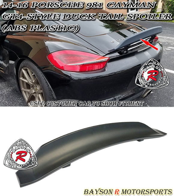 14-16 Porsche 981 Cayman GT4-Style Duck Tail Spoiler (ABS Plastic) - Bayson R Motorsports