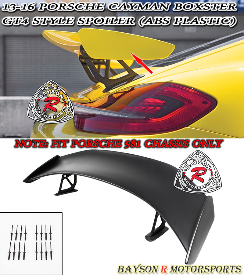 13-16 Porsche Cayman Boxster GT4-Style Spoiler Wing (ABS Plastic)