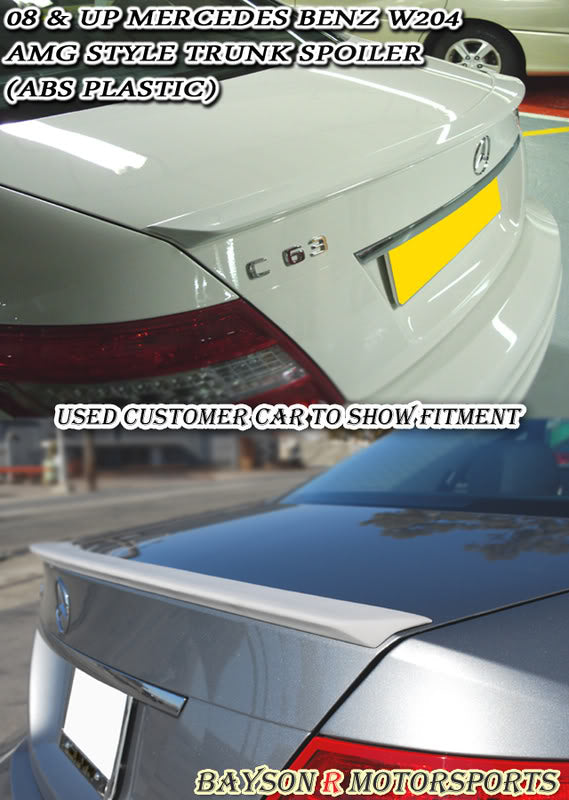 08-14 Mercedes-Benz C-Class W204 A-Style Trunk Lip Spoiler (ABS Plastic) - Bayson R Motorsports