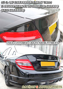 08-14 Mercedes-Benz C-Class W204 B-Style Trunk Lip Spoiler (ABS Plastic) - Bayson R Motorsports