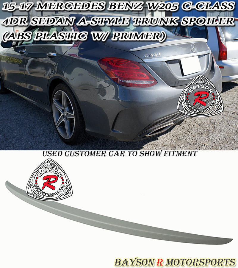 15-18 Mercedes Benz C-Class W205 4dr Sedan A-Style Trunk Spoiler (ABS Plastic)