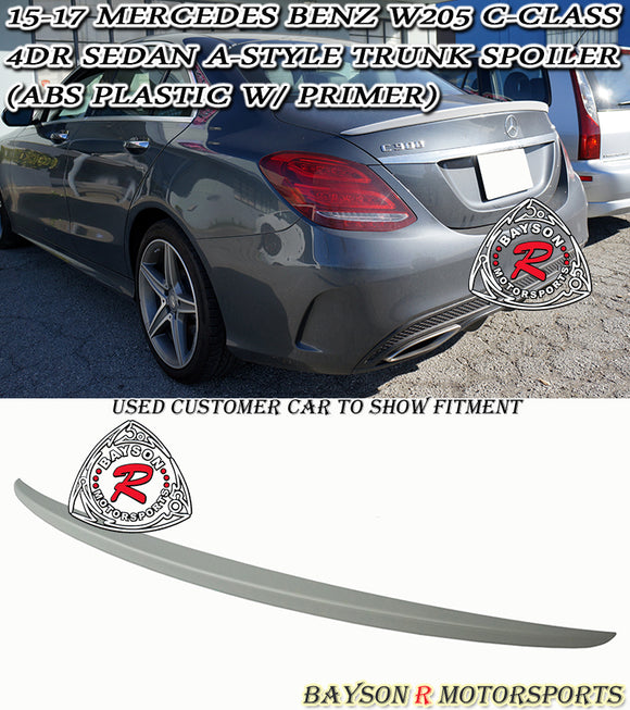 A Style Spoiler (ABS Plastic) For 2015-2020 Mercedes-Benz C-Class 4Dr (W205) - Bayson R Motorsports
