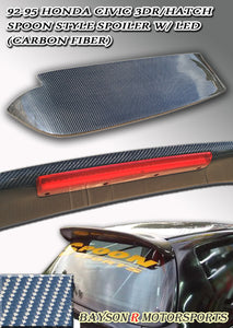 Spn Style Spoiler (Carbon Fiber) w/ LED 3rd Brake Light For 1992-1995 Honda Civic 3Dr - Bayson R Motorsports