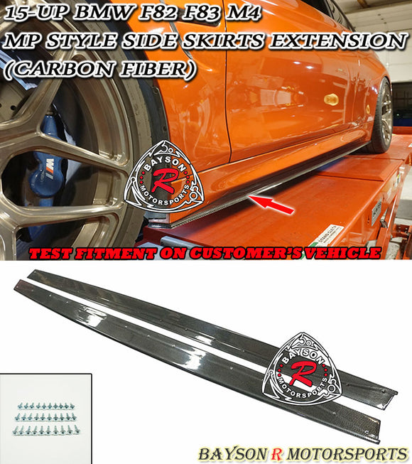 15-Up BWM F82 F83 M4 MP-Style Side Skirts Extension (Carbon Fiber)