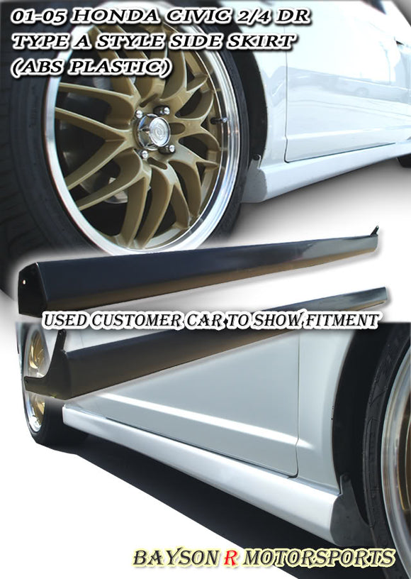 RS Style Side Skirts For 2001-2005 Honda Civic - Bayson R Motorsports