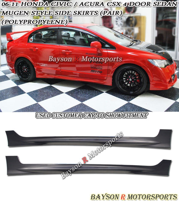 MU Style Side Skirts For 2006-2011 Honda Civic 4Dr - Bayson R Motorsports