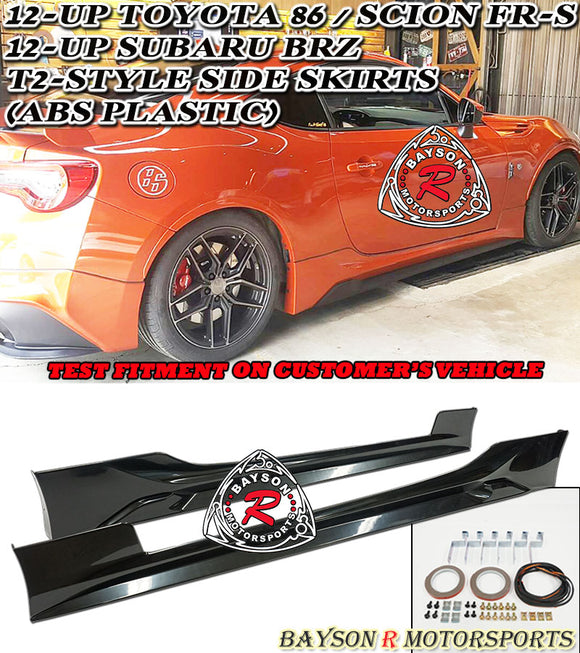 T2 Style Side Skirts For 2012-2020 Toyota 86 / Scion FR-S / Subaru BRZ - Bayson R Motorsports