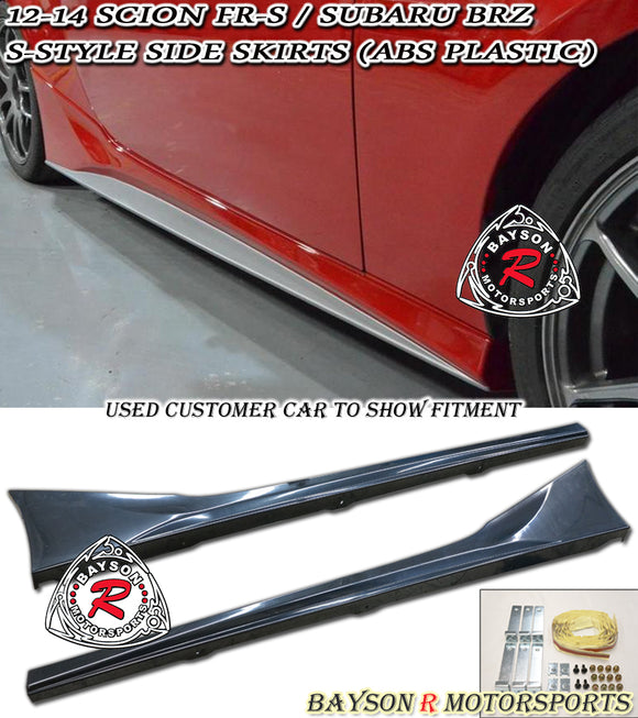 12-20 Scion FR-S FRS FT86 GT86 S-Style Side Skirts (ABS Plastic) - Bayson R Motorsports