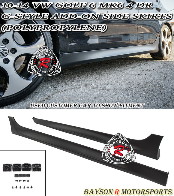 10-14 VW Golf 6 MK6 G-Style Add-On Side Skirts (Polypropylene)