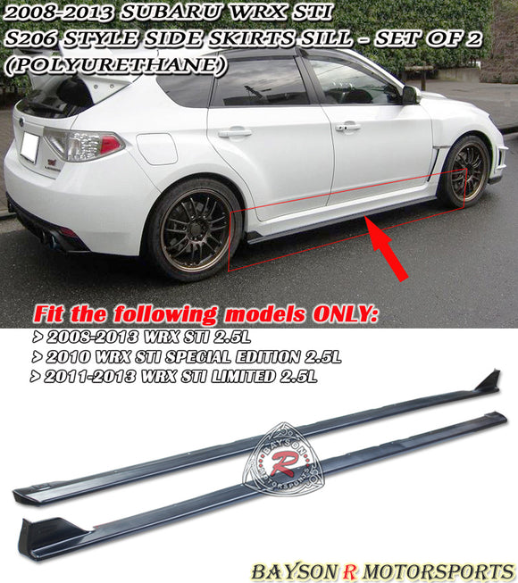 S206 Style Side Skirts For 2008-2014 Subaru WRX / STi - Bayson R Motorsports