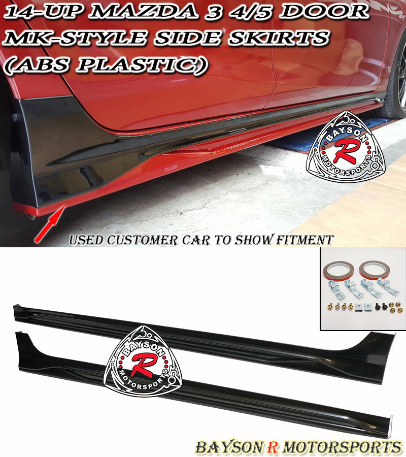 14-18 Mazda 3 4/5dr MK-Style Side Skirts (ABS Plastic)