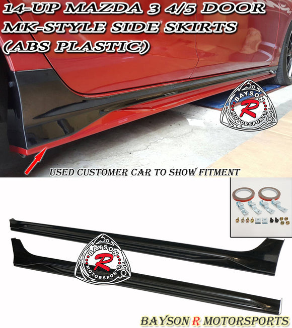 MK Style Side Skirts For 2014-2018 Mazda 3 - Bayson R Motorsports