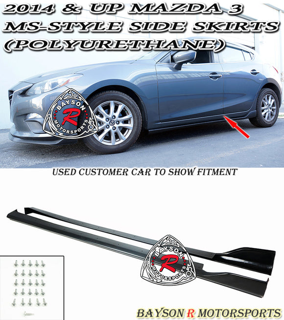 MS Style Side Skirts For 2014-2018 Mazda 3 - Bayson R Motorsports