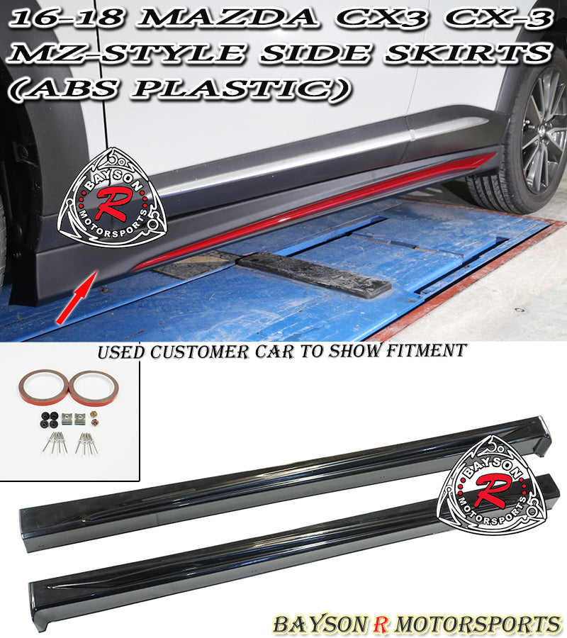 16-18 Mazda CX3 CX-3 MZ-Style Side Skirts (ABS Plastic)