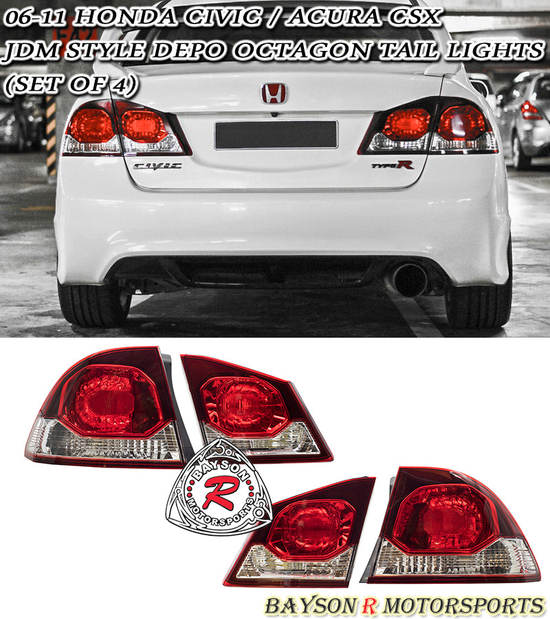 09-11 Honda Civic JDM Spec / Acura CSX 4dr Sedan DEPO JDM Conversion Octagon Tail Lights (Red/White)