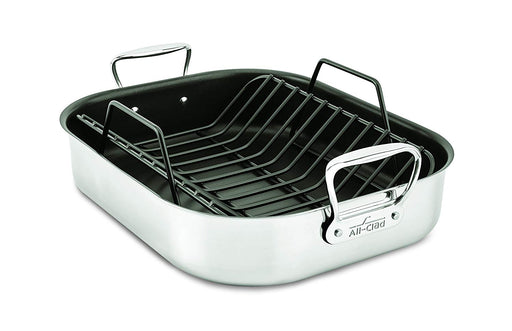 All-Clad E751S264 Stainless Steel Large Nonstick Roaster with Rack Cookware, 16-Inch