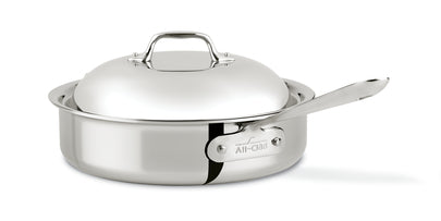All-Clad D3 Stainless 4 Quart Steel Saute Pan with domed lid