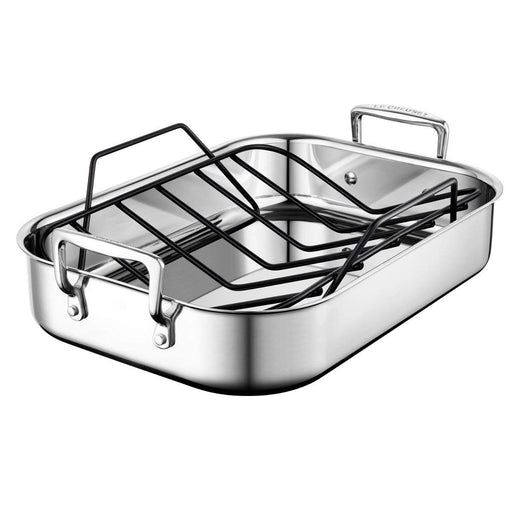 Le Creuset Small Roasting Pan (14 Inch  x 10 Inch ) with Nonstick Rack