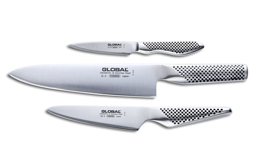 Global G-2338 3 Piece Starter Set with Chef's, Utility and Paring Knife