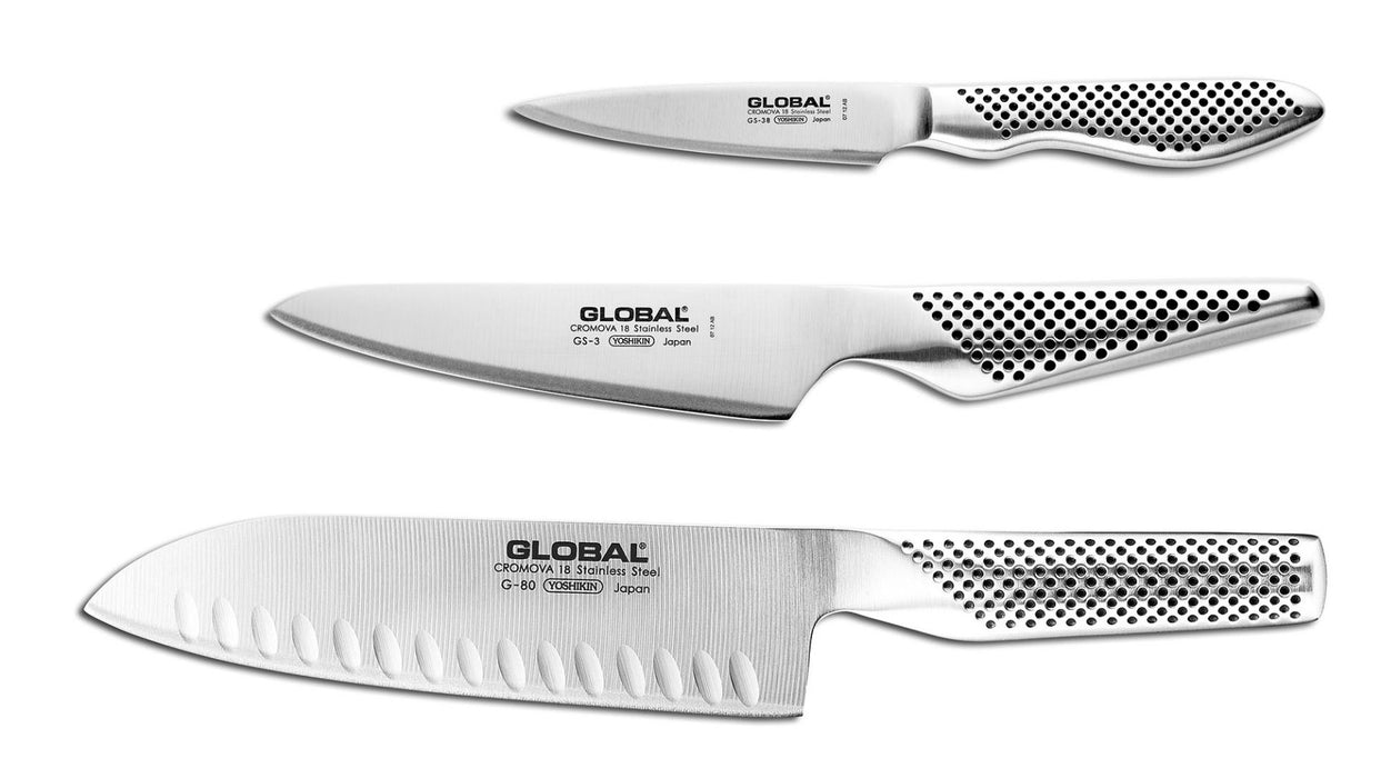 Global G-48338-3 Piece Knife Set with Santoku - Hollow Ground, Utility and Paring Knife
