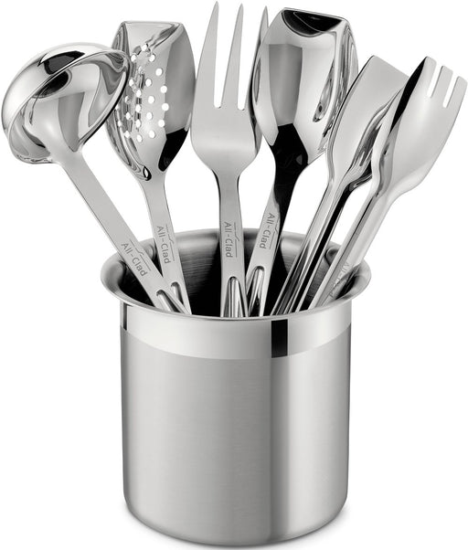 All-Clad Stainless Steel Cook and Serve Kitchen Tools Set with Caddy, 6-Piece
