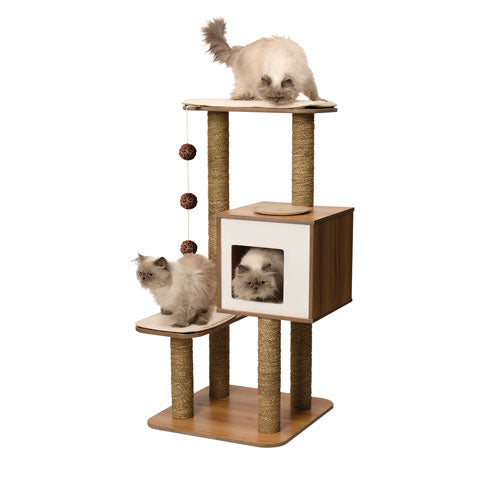 Premium Cat Furniture V-High Base - Walnut