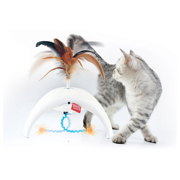 Feather spinner Pet Droid w/2 replacable natural feather caps and 3 motion sensors